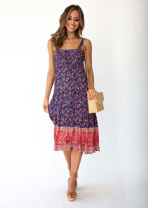 Sweet Life Midi Dress - Navy Floral