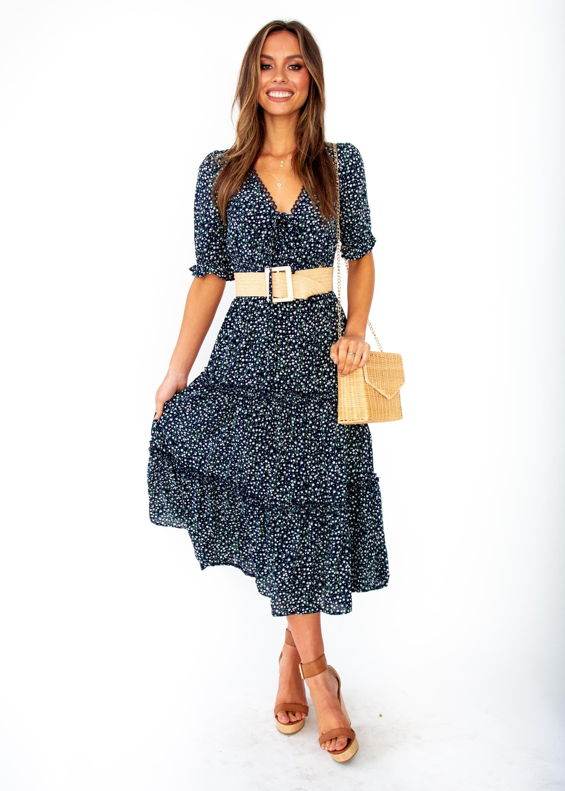 Women's Caught In The Flames Midi Dress - Navy Floral Print