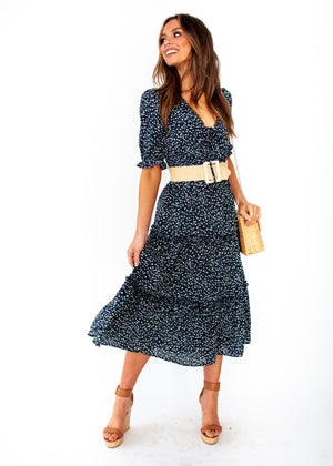 Caught In The Flames Midi Dress - Navy Floral Print