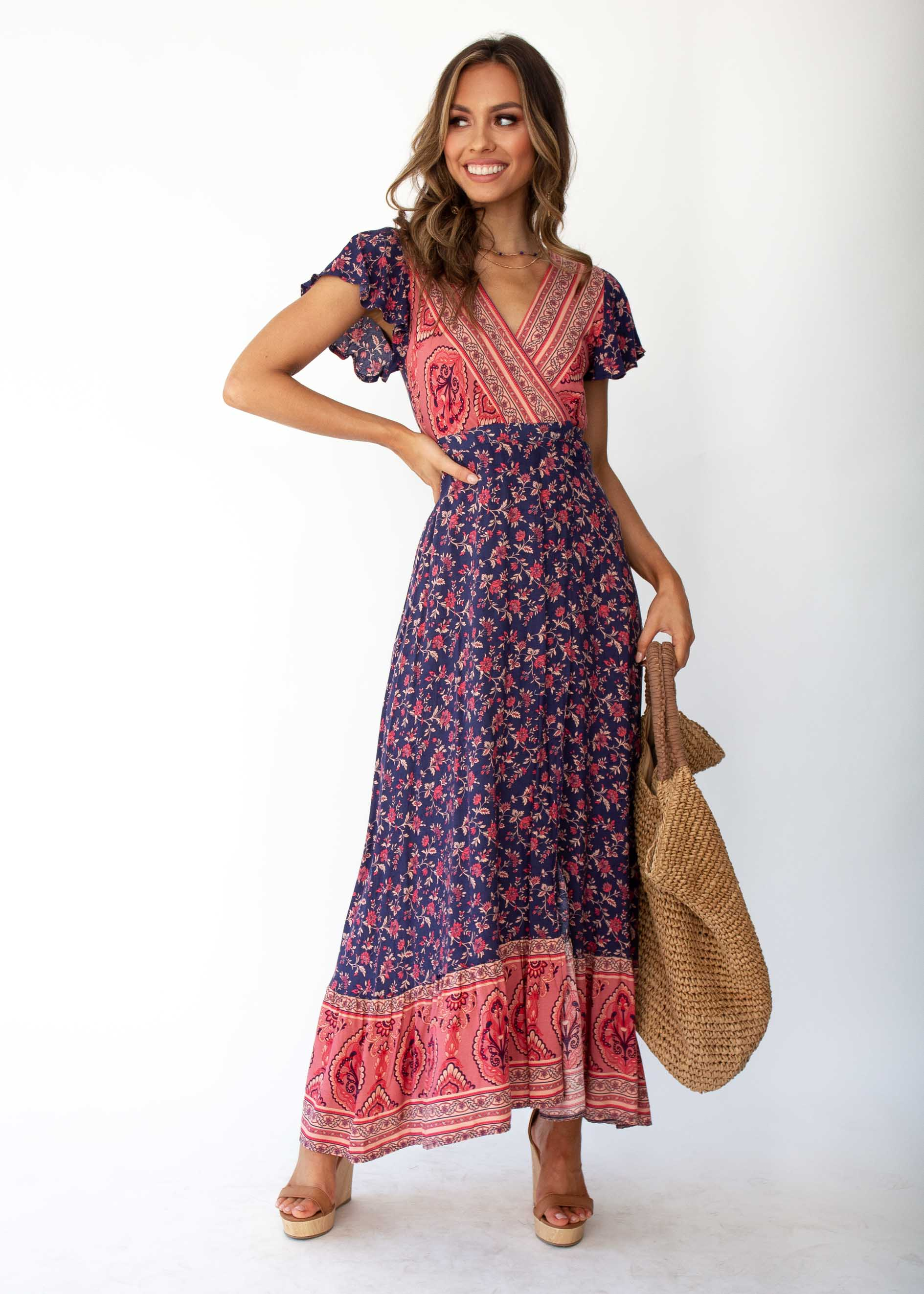 666954701f2c78 Mackenzie Wrap Maxi Dress - Navy Floral – Gingham and Heels