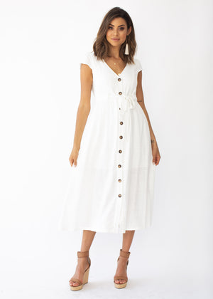 Bourdeaux Midi Dress - White