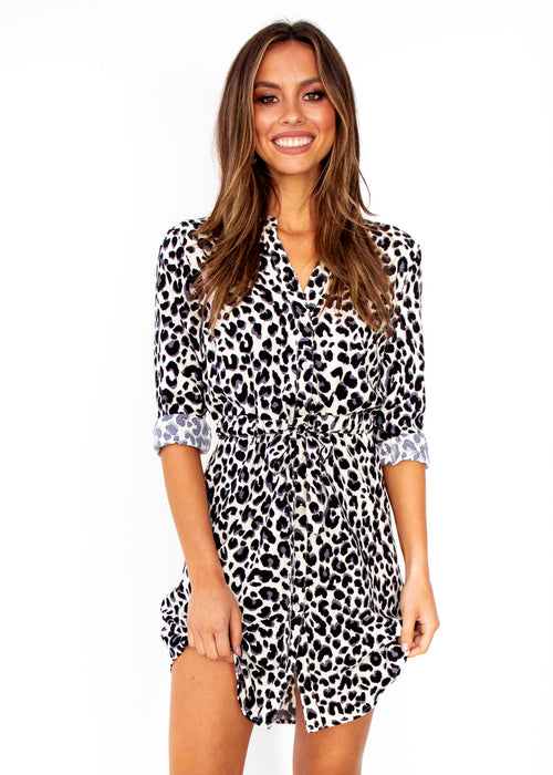 Women's Finley Tunic Dress - Cream Leopard Print