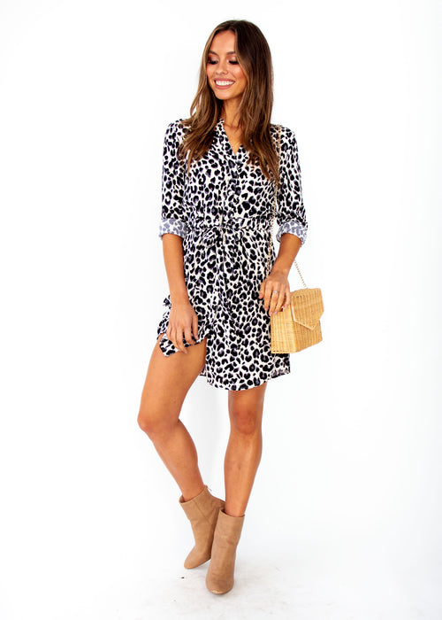 Finley Tunic Dress - Cream Leopard Print