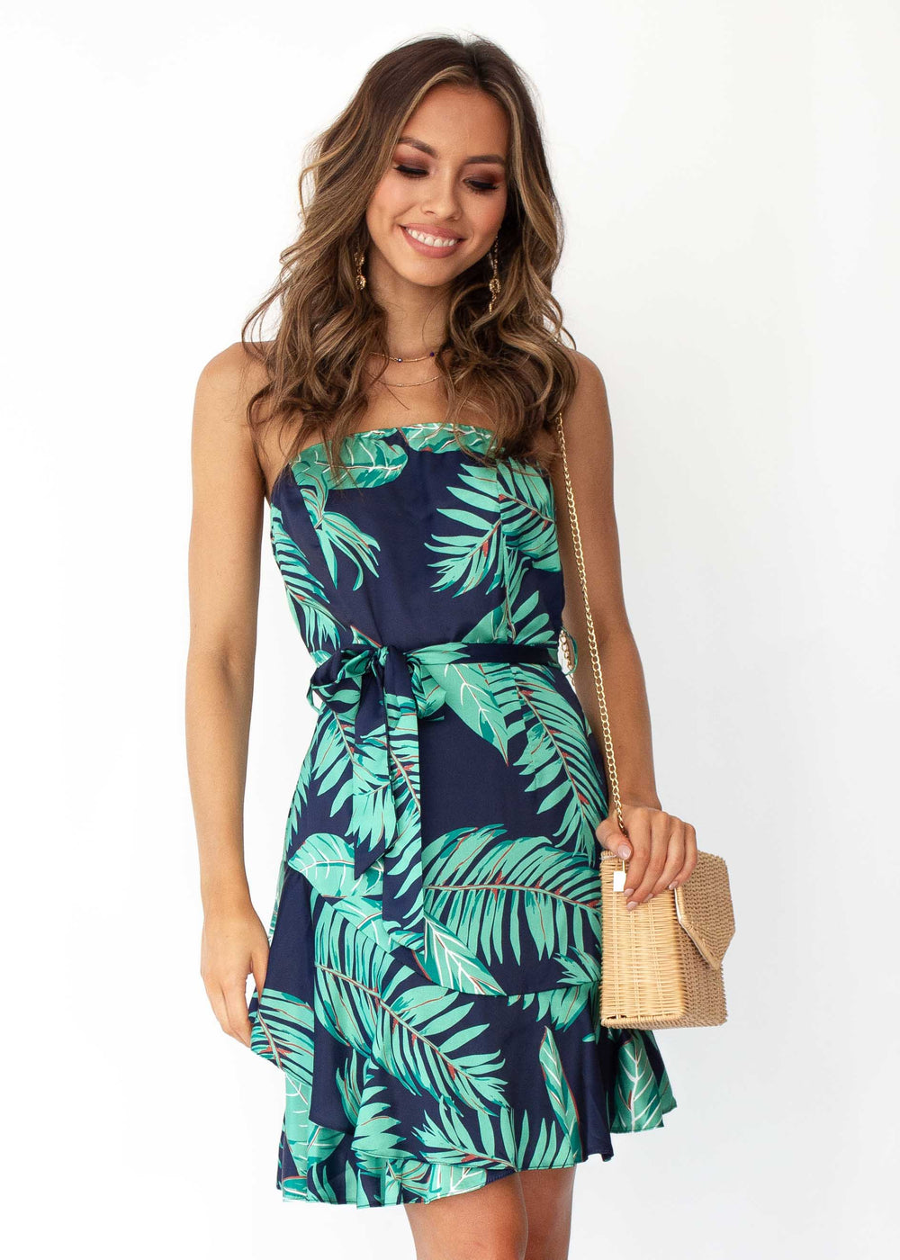 Into It Strapless Dress w/ Tie - Navy Tropics
