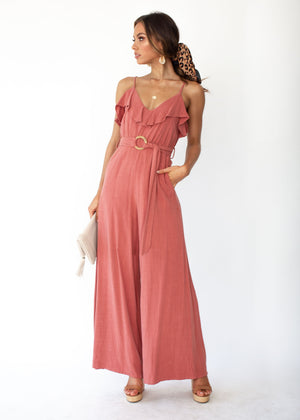 Unforgettable Wide Leg Pantsuit - Rose