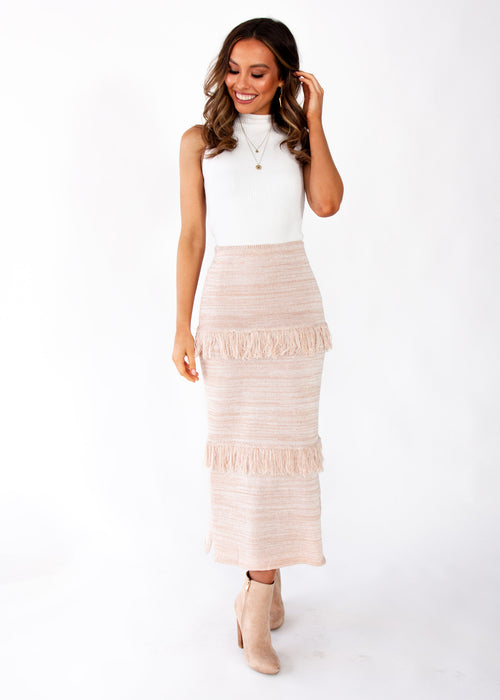 Afterhours Knit Maxi Skirt - Blush