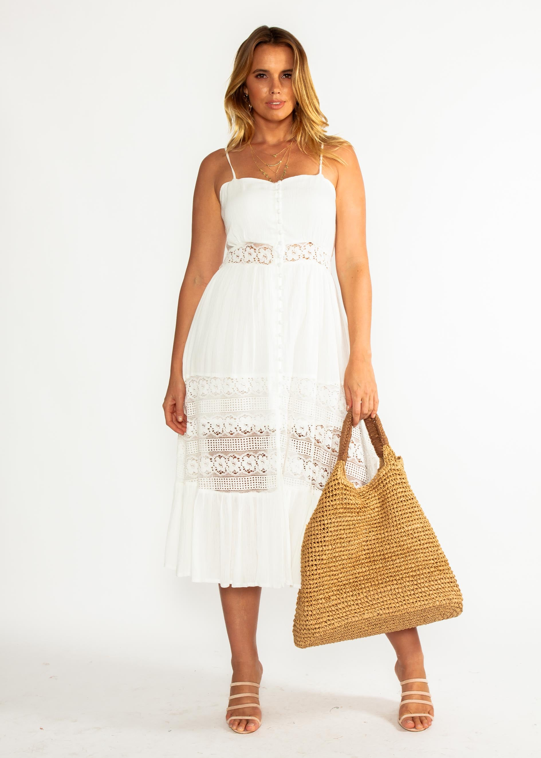 Mandy Midi Dress - White