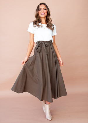 Women's Savannah Midi Skirt - Dark Khaki