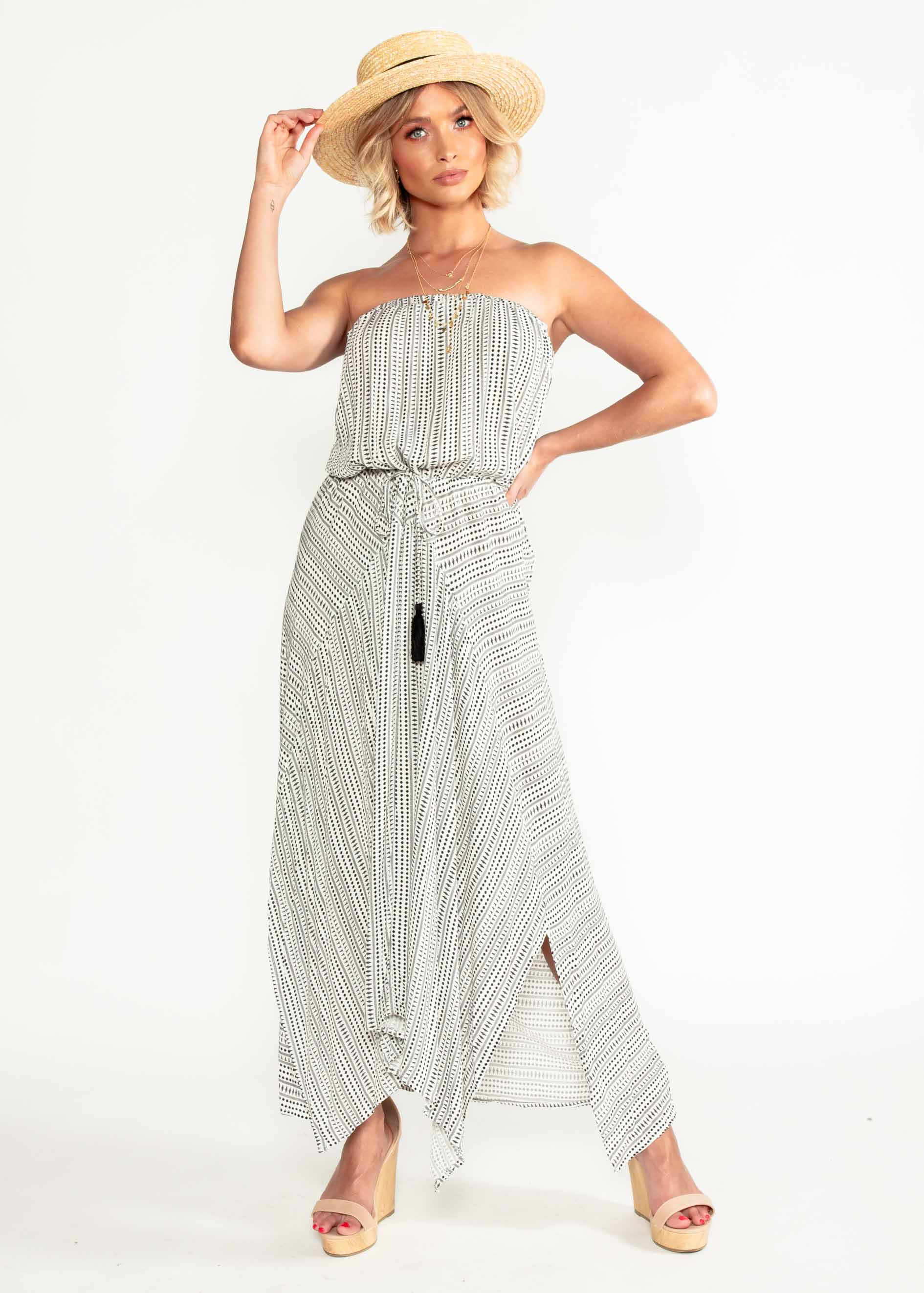 Delray Strapless Maxi Dress - White Black – Gingham and Heels 22a4f2682