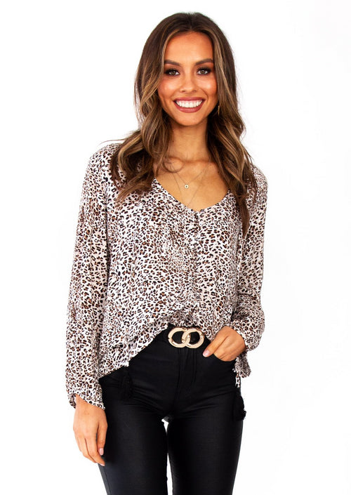 Women's Finders Keepers Blouse - Leopard