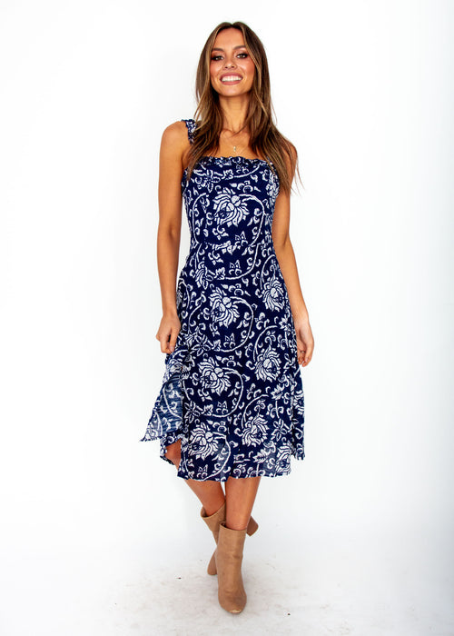 Women's Katia Midi Dress - Navy Floral Print