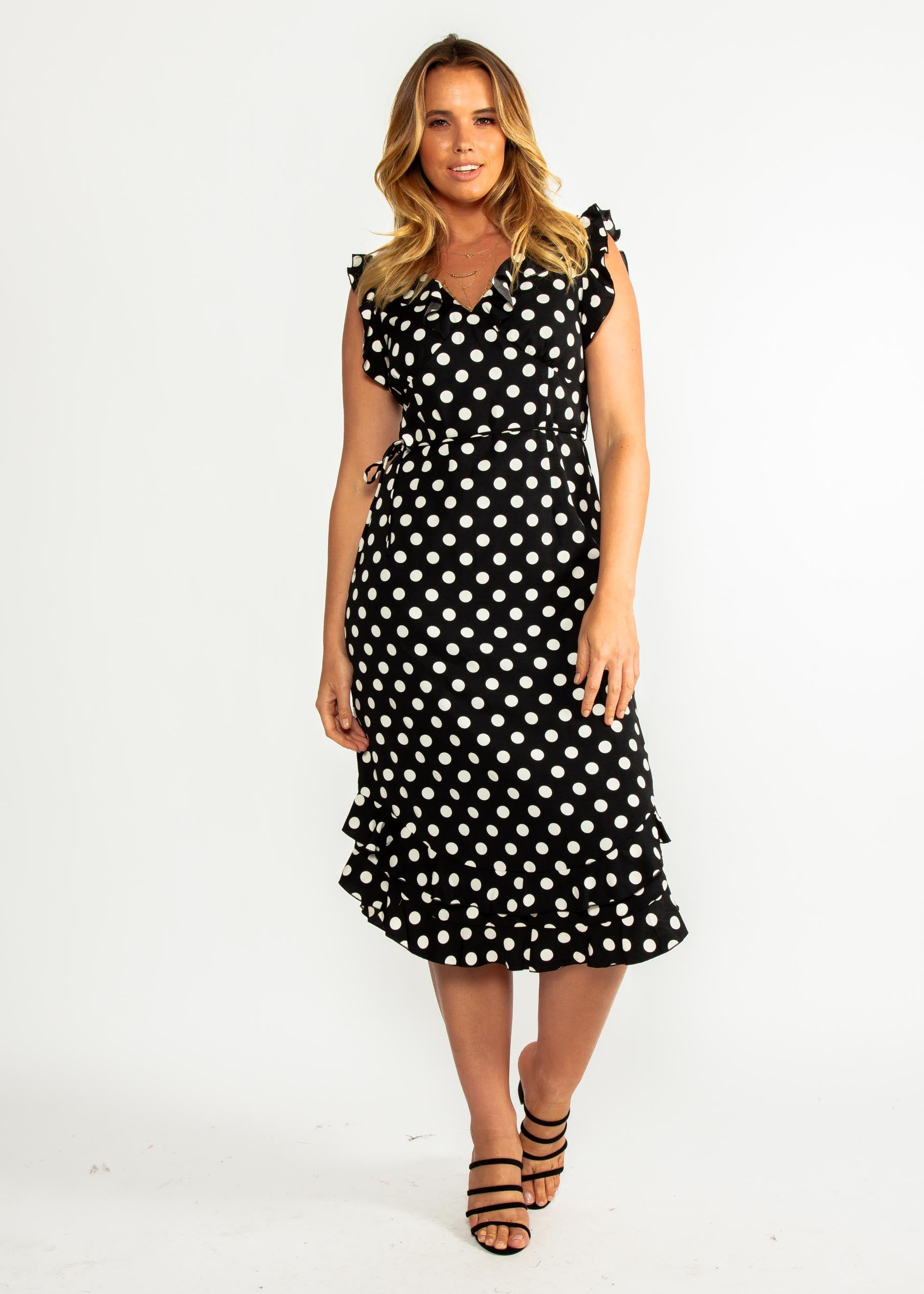 One Last Time Midi Dress - Black Polka