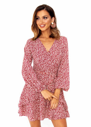 Springwood Dress - Red Floral Print