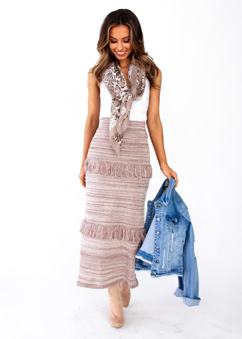 Afterhours Knit Maxi Skirt - Mocha