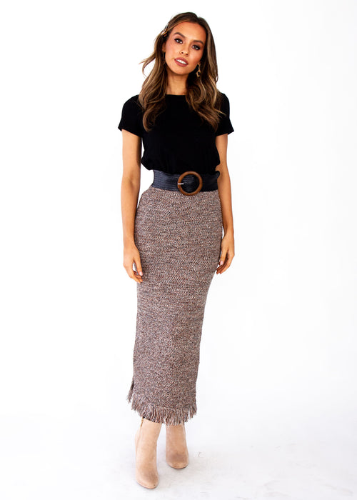 Pampas Knit Maxi Skirt - Mocha