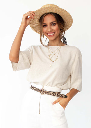 Women's Simple Touch Linen Blouse - Natural