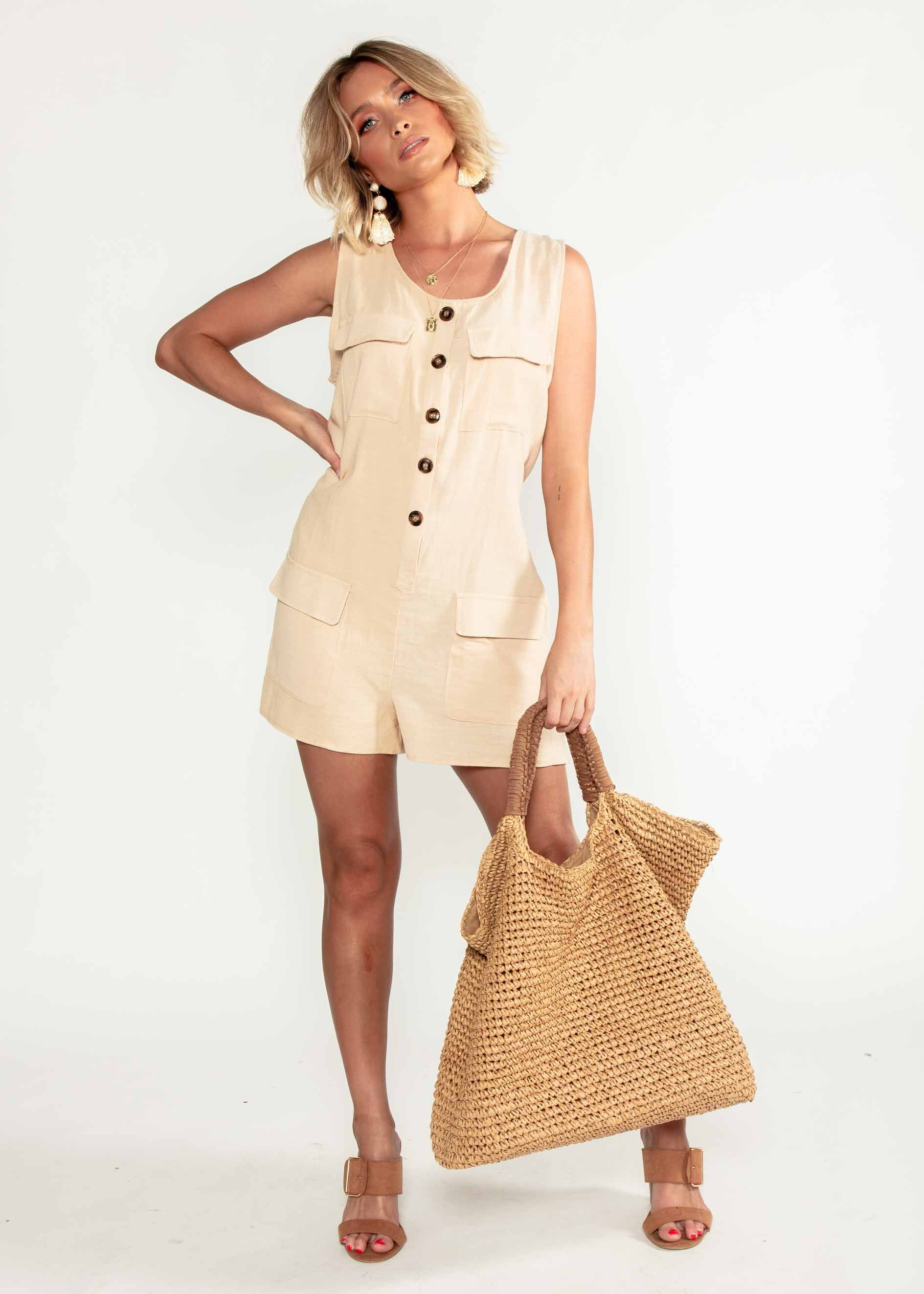 Bianka Playsuit - Beige