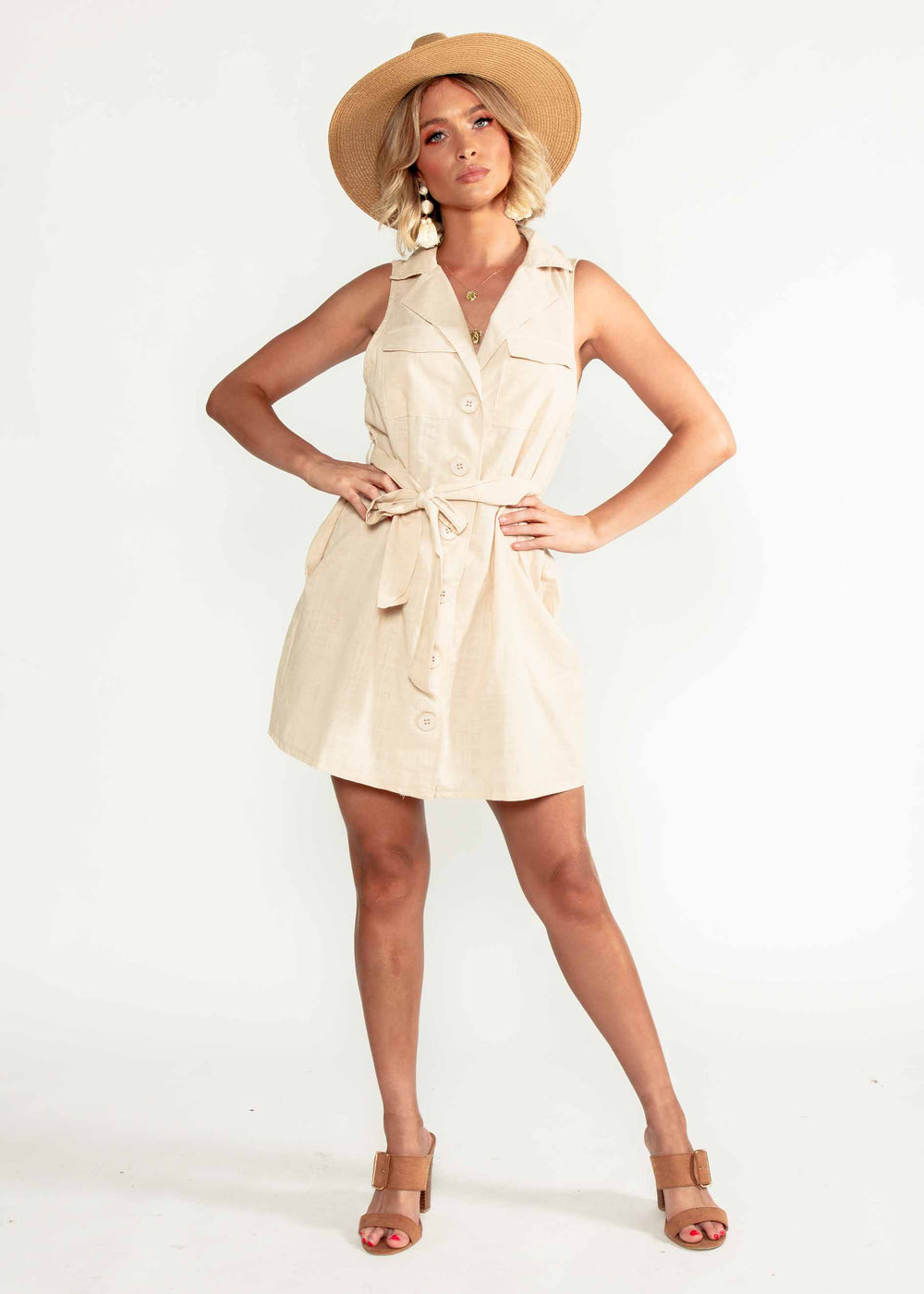 Kali Dress w/ Tie - Beige