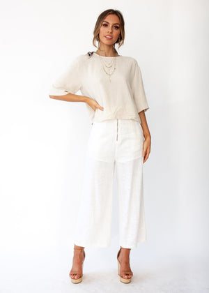Simple Touch Linen Blouse - Natural