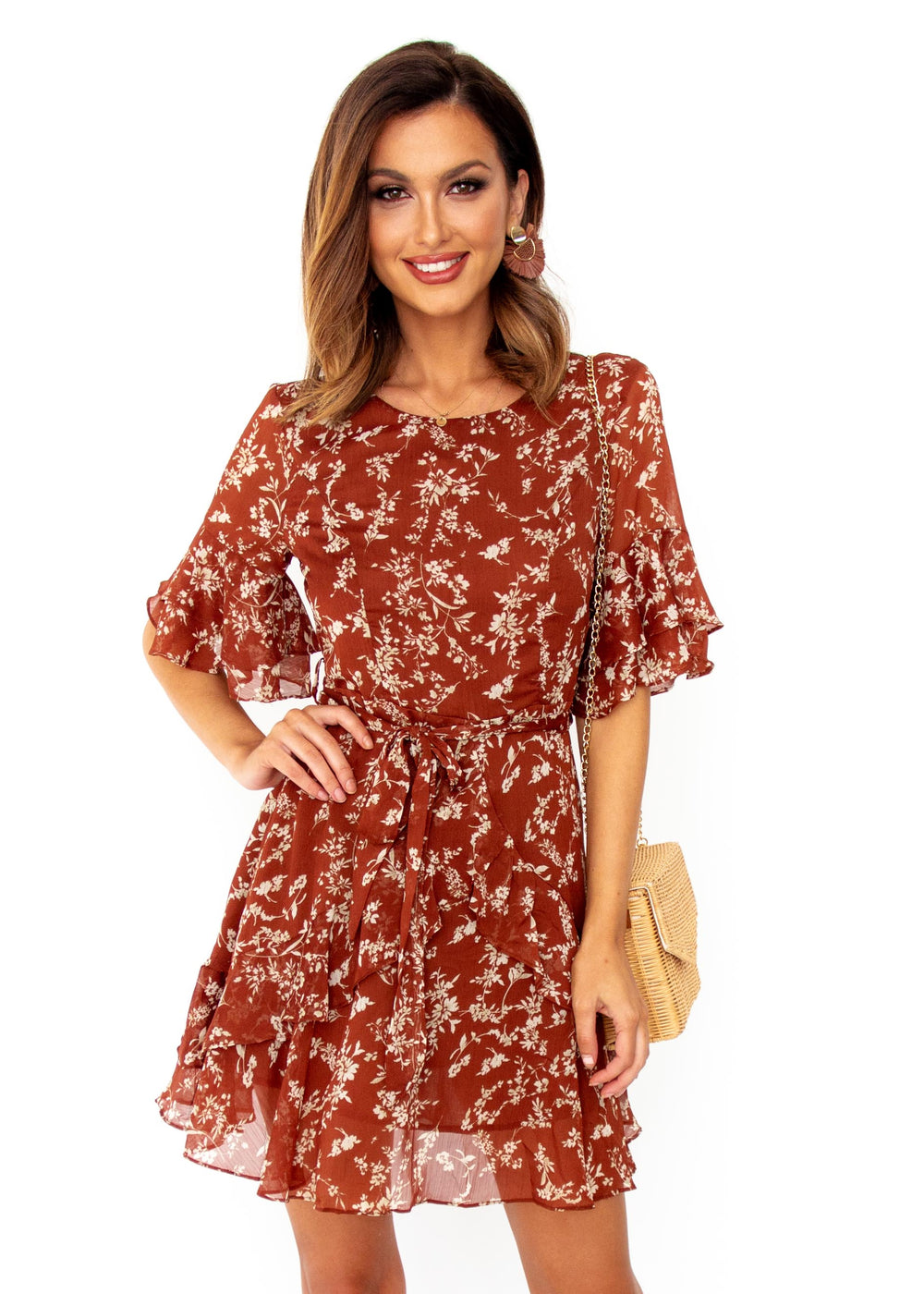 Women's Audacious Dress - Rust Floral
