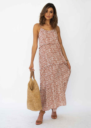 Alani Maxi Dress - Red Floral