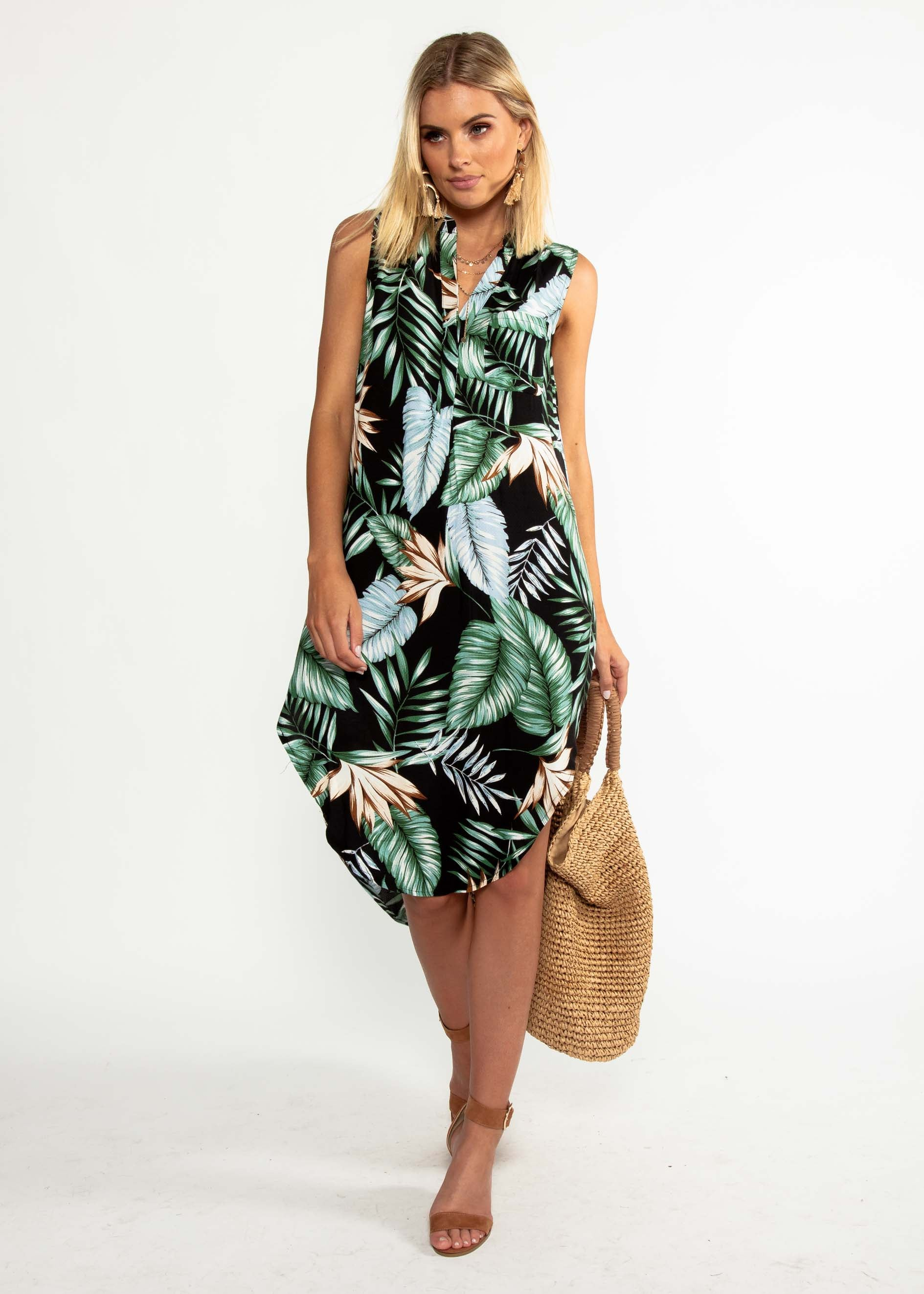 Moving Along Midi Dress - Black Palm