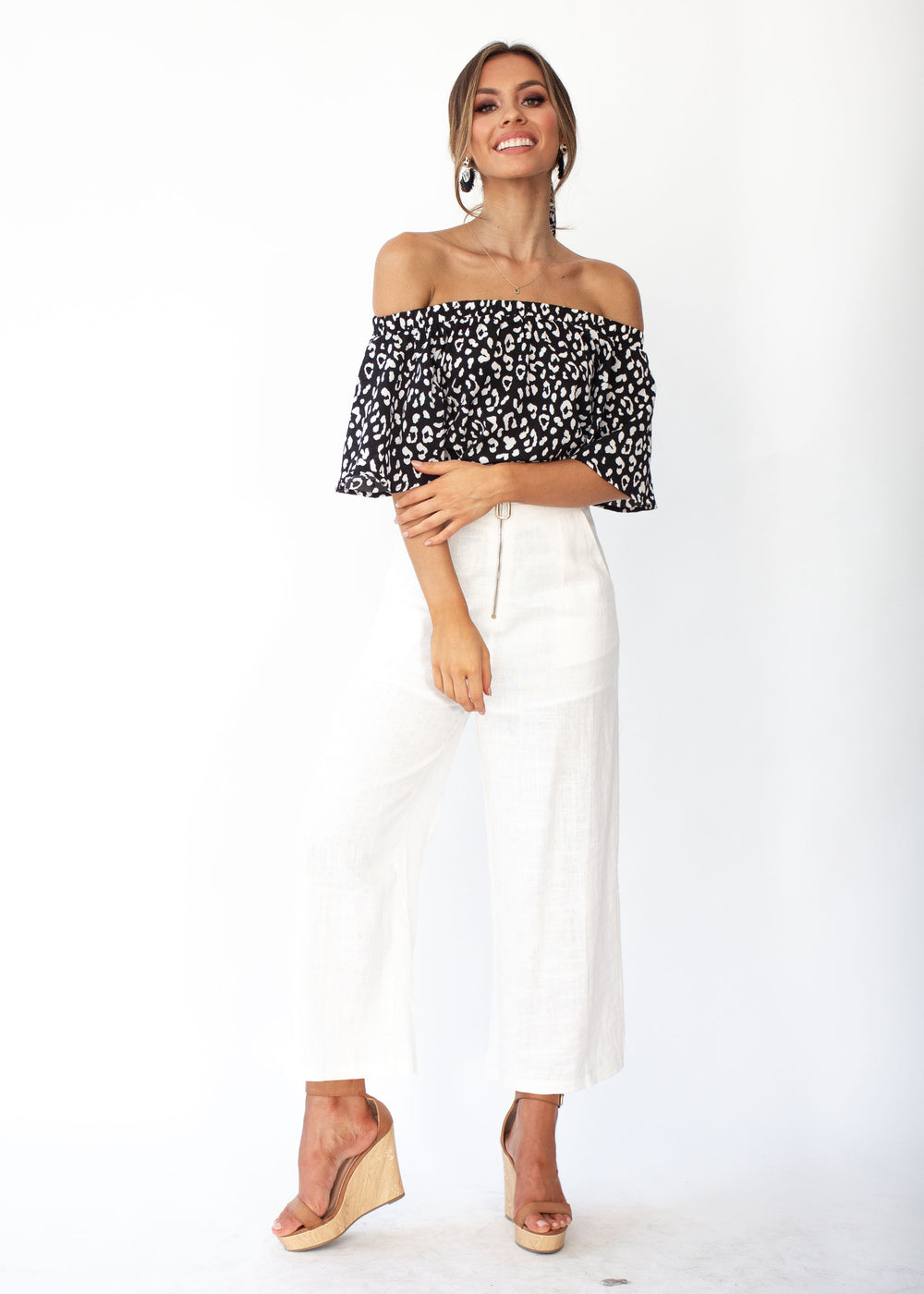 Women's Dare To Try Off Shoulder Top - Black White Print