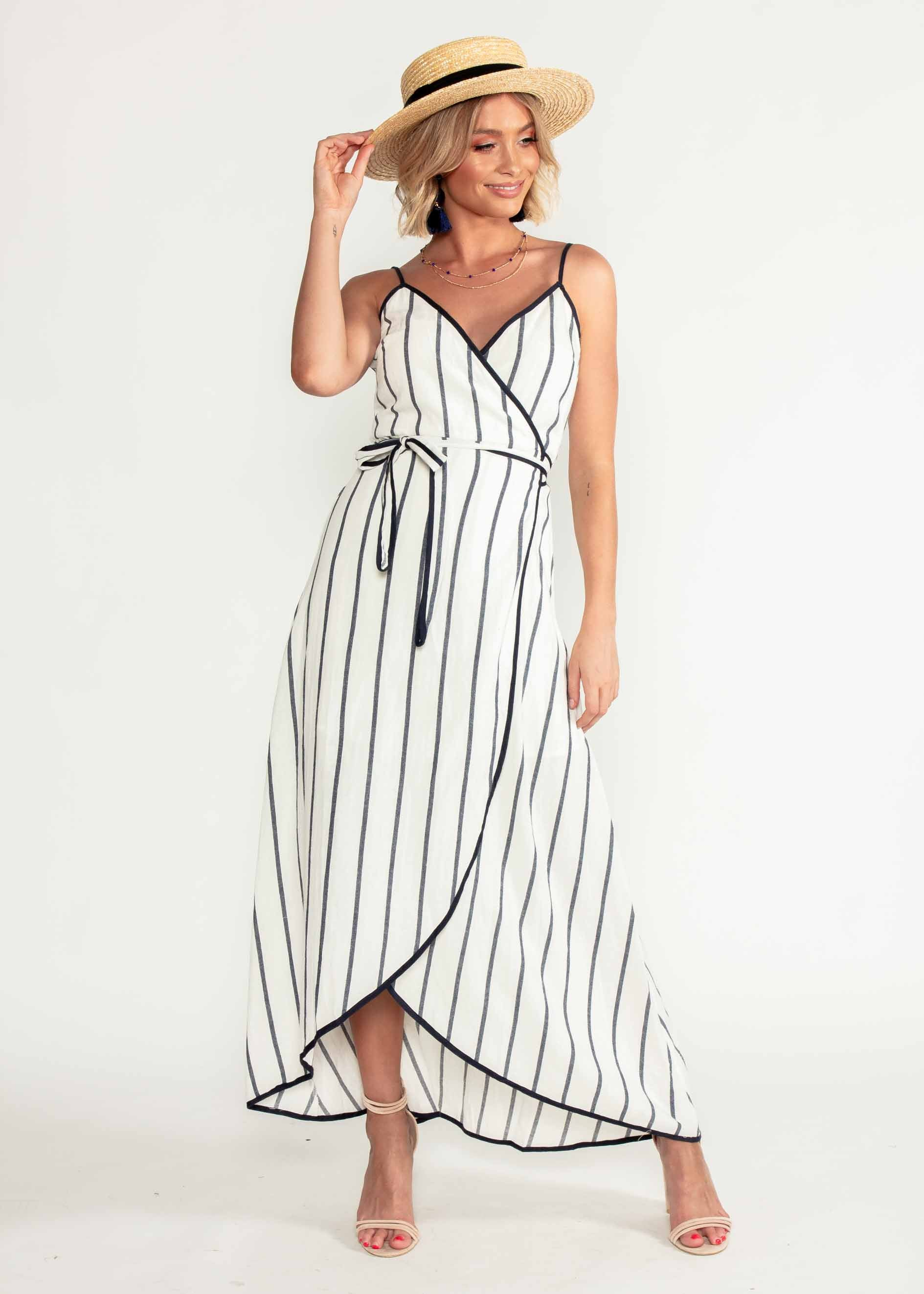 Vivian Wrap Midi Dress - White/Navy Stripe