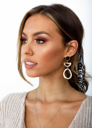 Tennelle Earrings - Black/Gold