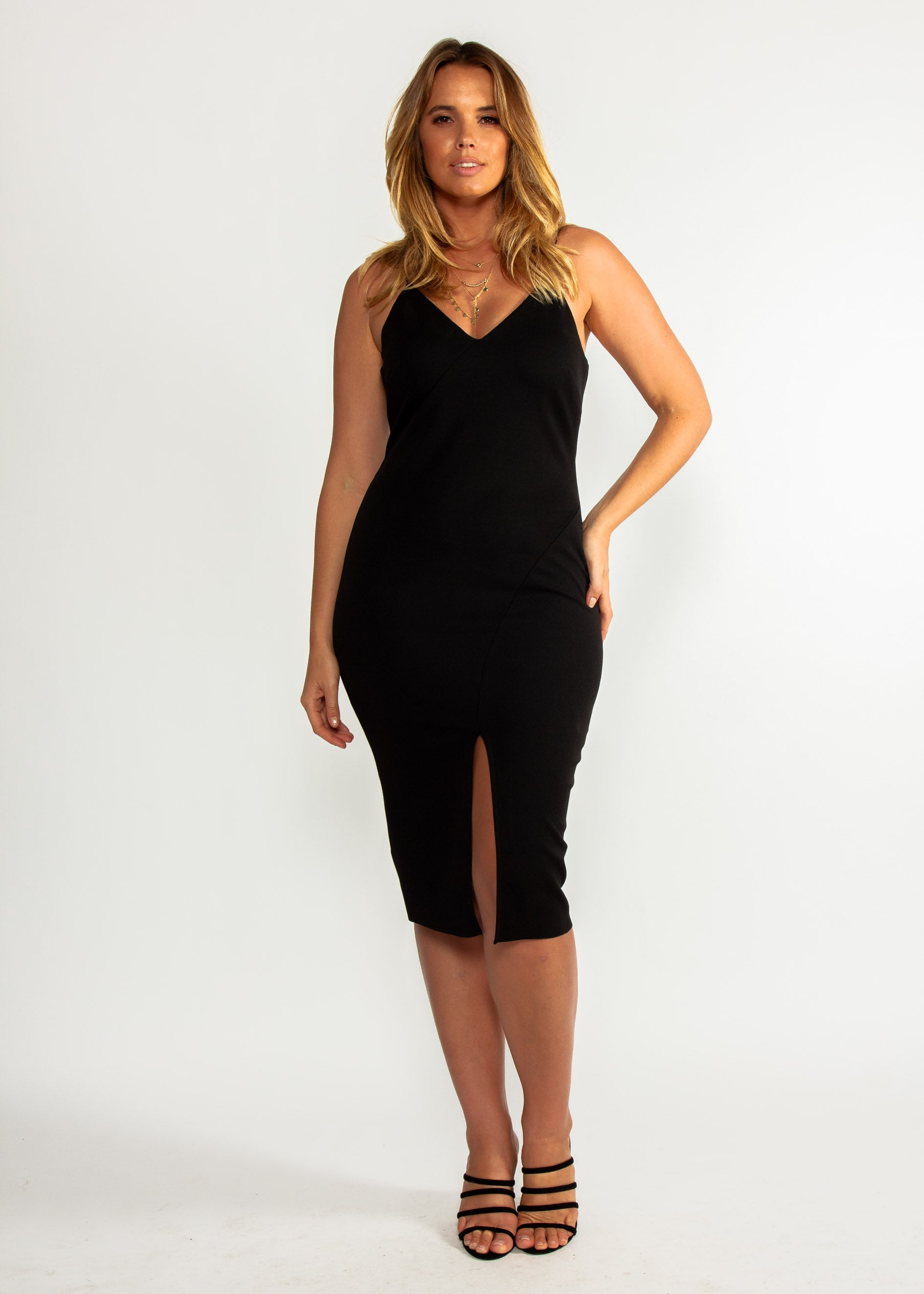 Change Your Mind Midi Dress - Black