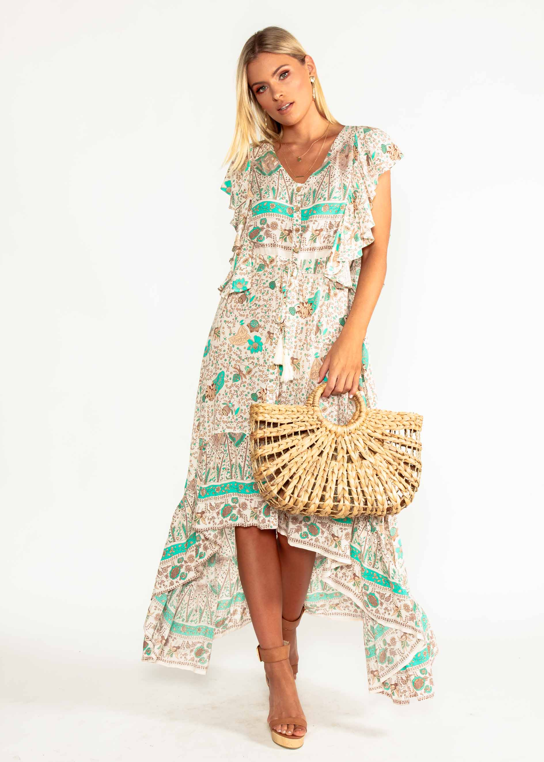 Marley Hi-Lo Maxi Dress - Hummingbird Sage