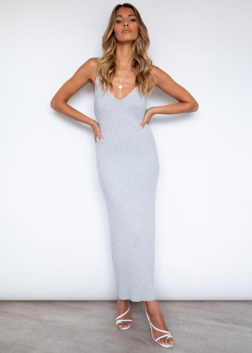 Piper Knit Midi Dress - Grey