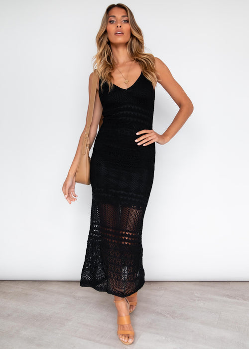 Unlock Love Crotchet Midi Dress - Black