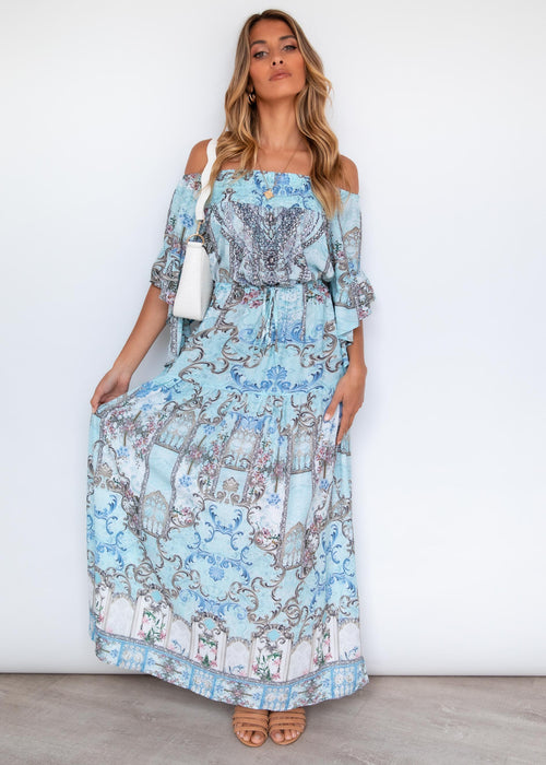 Ever Changing Off Shoulder Maxi Dress - Aquamarine