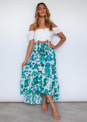 Cahya Hi-Lo Midi Skirt - Retro Green
