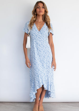 Tamsin Wrap Midi Dress - Denim Clover
