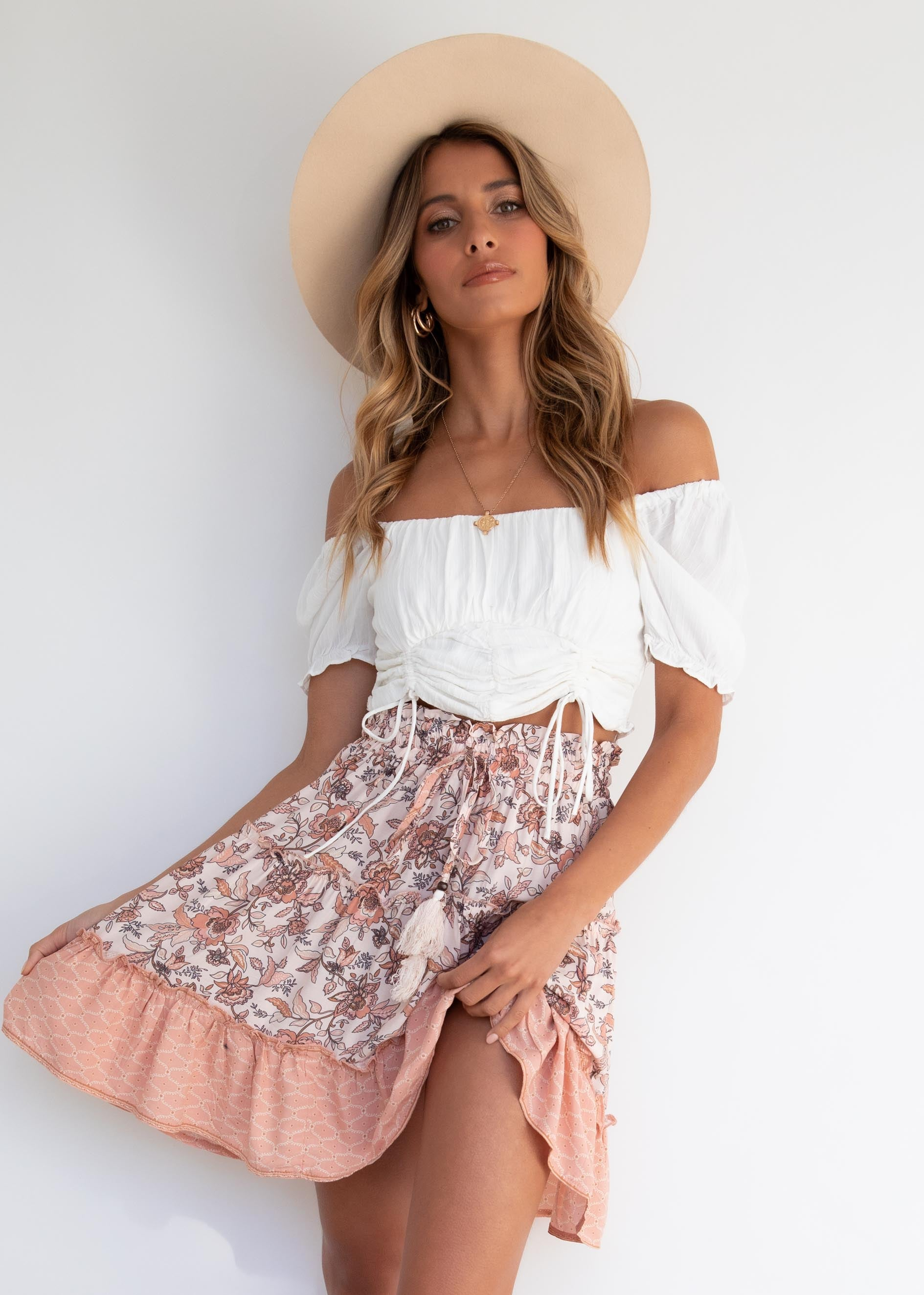 Cindy Skirt - Nude Floral