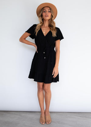 Alexa Linen Dress - Black