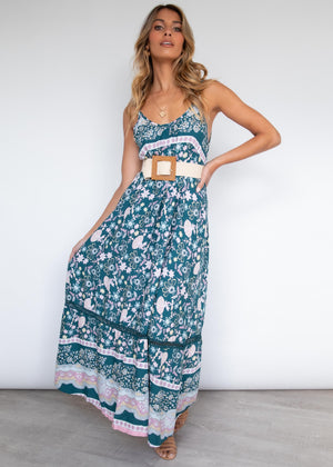 Elisia Maxi Dress - Teal Garden