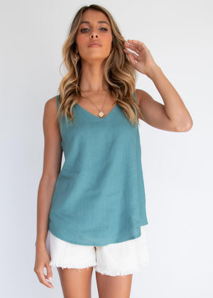 Shelly Linen Cami - Teal