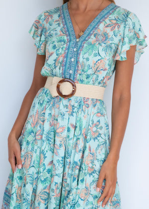 Retrograde Midi Dress - Pastel Mint