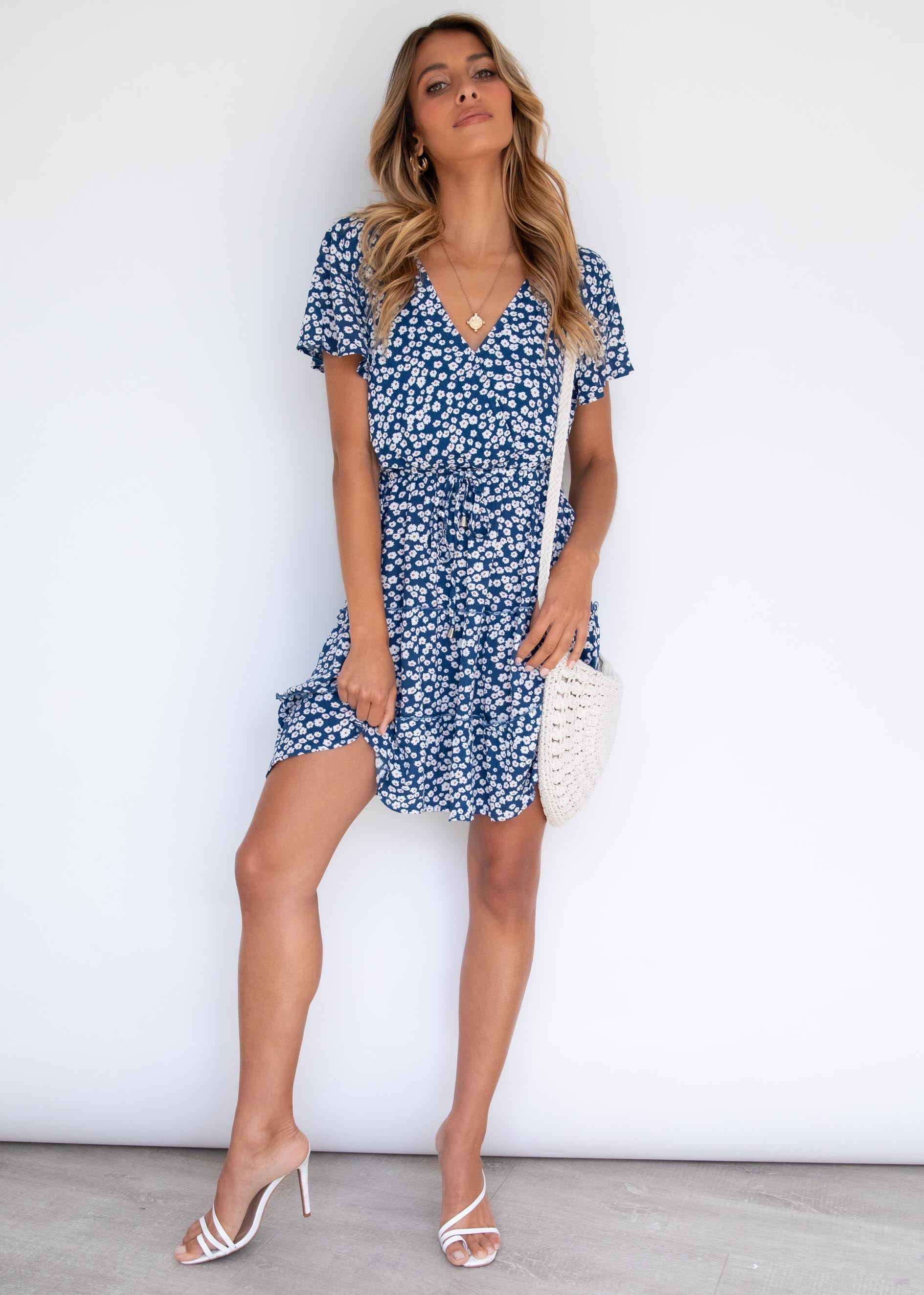 Crossed Signals Dress - Navy Floral