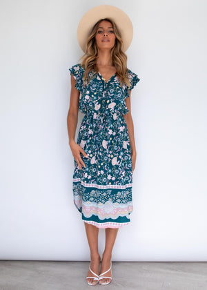 Mi Belle Midi Dress - Teal Garden