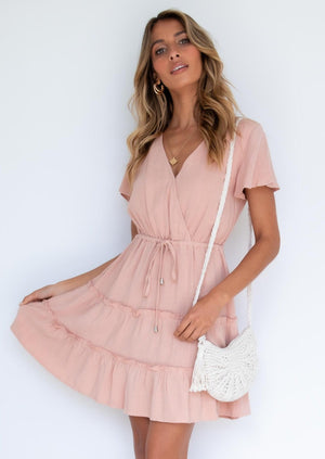 Alexa Linen Dress - Blush