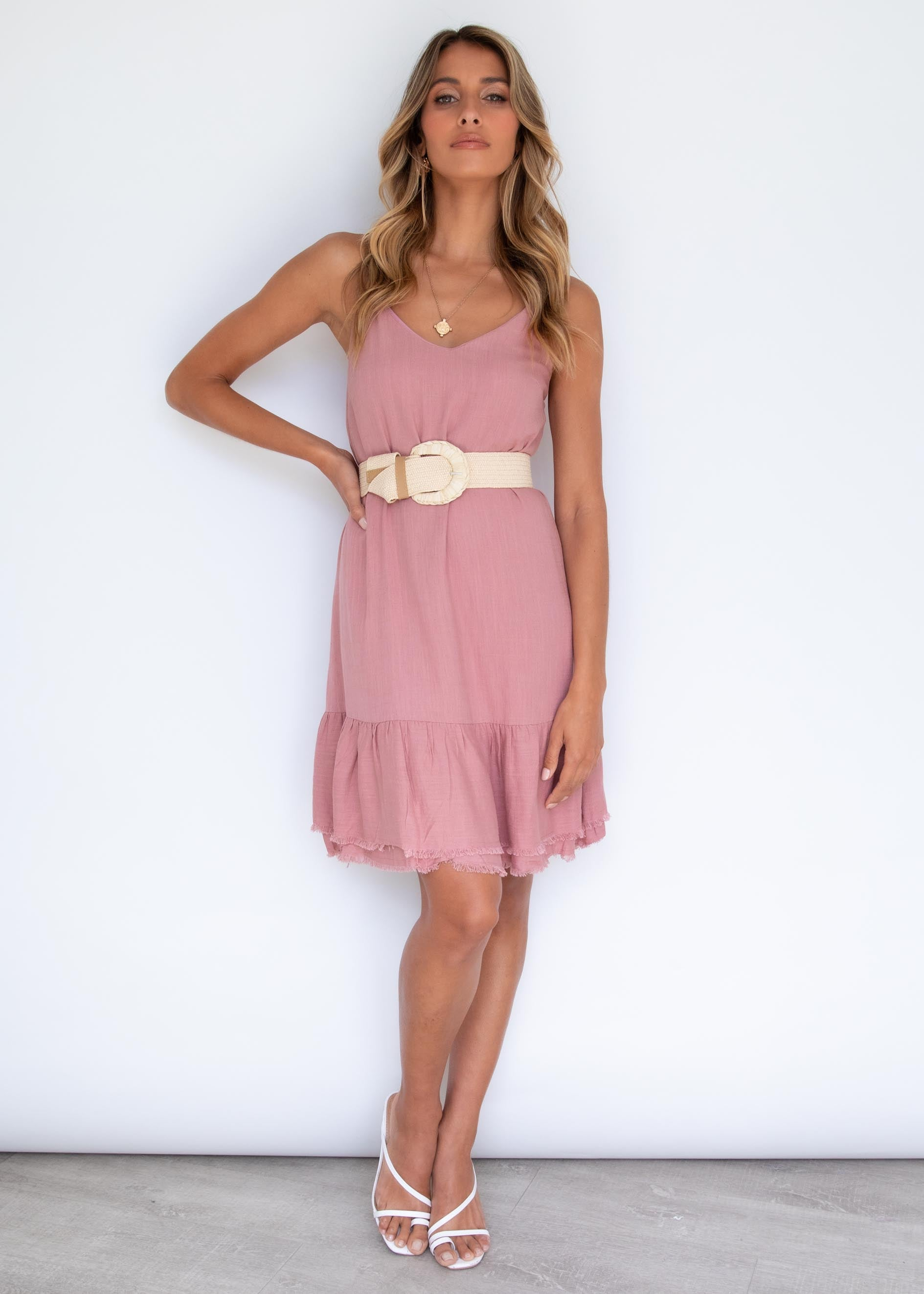 Andy Raw Linen Dress - Rose