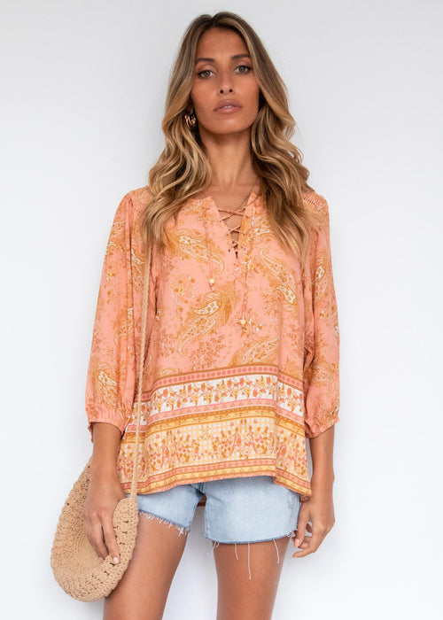 Nine Lives Blouse - Terracotta Paisley
