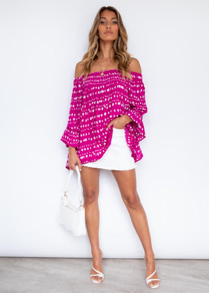 Sugar Night Off Shoulder Top - Cali Pink