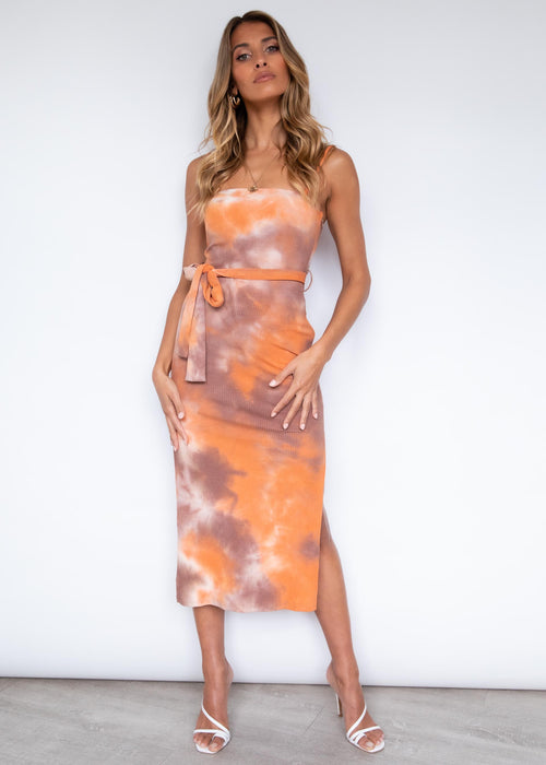 Walking By Midi Dress - Orange Tie Dye