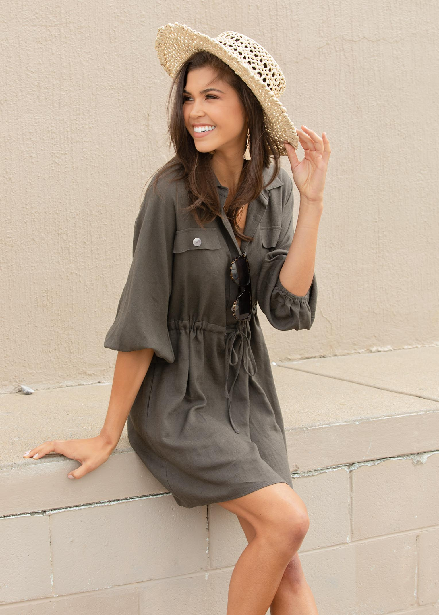 Lay Low Linen Tunic Dress - Dark Khaki