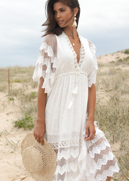 Panama City Lace Maxi Dress - White